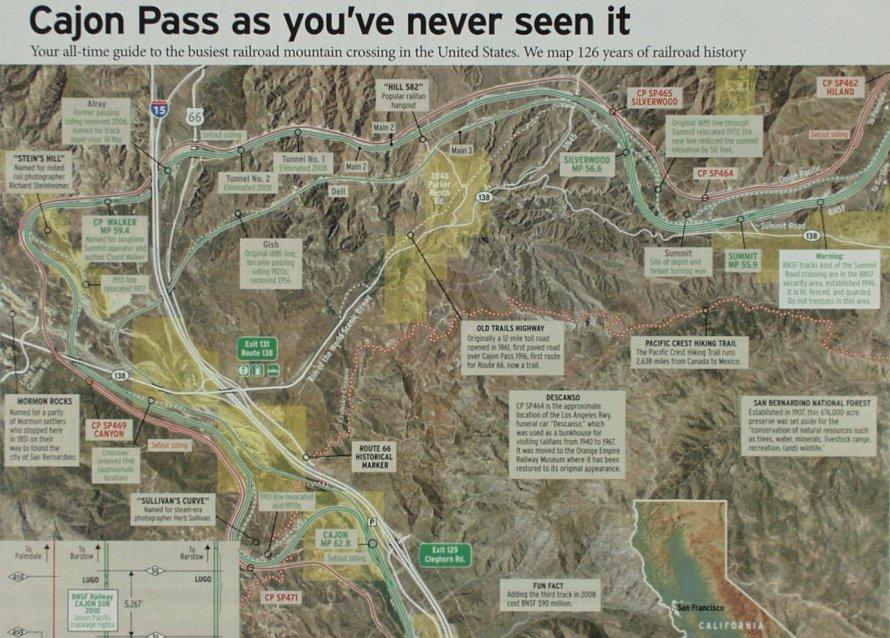 Cajon Pass   Map by Trains Magazine (Kalmbach Publishing)